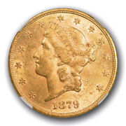 1879 20 Liberty Head Double Eagle Gold Piece Ngc Au 55 About Uncirculated To...