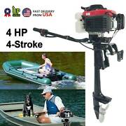4-stroke 4hp Heavy Duty Outboard Motor Boat Engine W/air Cooling System Usa