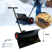Adjustable Snow Pusher Mobile Snow Shovel With Wheels 29 Wx13 H For Driveway