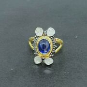 Victorian Antique Style Gemstone Ring, Solid Silver Blue Sapphire And Polki Rings,