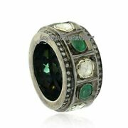 Sterling Silver Gems Band Green Emerald And Polki Diamond Ring Black Plated Rings,