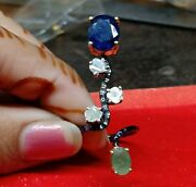 Blue Sapphire With Sterling Silver Natural Green Emerald And Polki Diamond Rings,