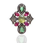 Sterling Silver Tourmaline Green Emerald And Beautiful Ruby Diamond Promise Rings