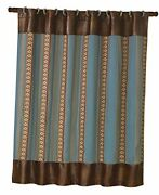 Ruidoso Aztec Stripe Faux Leather Shower Curtain And Rings Turquoise And Brown