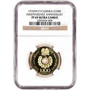 1976 Fm Papua New Guinea Gold Independence Anniversary 100 Kina - Ngc Pf69 Ucam