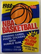 Fleer 1988 Nba Basketball Wax Pack 12 Cards 1 Sticker And 1 Stick Gum Sealed