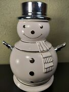 Slatkin And Co. White And Silver Snowman Cookie Jar 2008