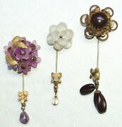 Vintage Costume Jewelry Lot Of 3 Stick Pin All Miriam Haskell Signed 42iy