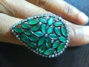 Green Emerald Cocktail Ring, Diamond Ring, 925 Sterling Silver Statement Rings,