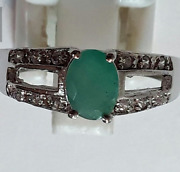 Genuine Emerald Ring Authentic Ring Sterling Silver, Diamond And Green Stone Rings