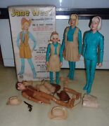Vintage 1960's Marx 2 Jane West Cowgirl Western Jointed Doll Box + Accessories