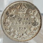 1913 Small Leaves Canada 10 Cent Vf/xf