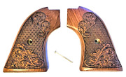 Heritage Arms Rough Rider 6 And 9 Shot Grips Carved Rosewood Scroll Gold Rush