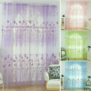 Us Flower Printed Curtains Yarn Tulle Drape For Living Window Curtain Screening