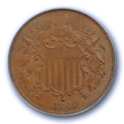 1869 2c Two Cent Piece Pcgs Ms 64 Bn Uncirculated Brown Original Us Coin Nice