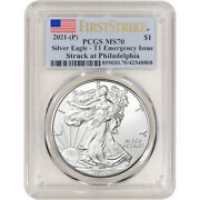 2021 P American Silver Eagle - Pcgs Ms70 First Strike Flag Emergency Issue