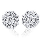 White Gold Huge 1.45ct Pave Halo Womenand039s Round Brilliant Cut Real Diamond Studs