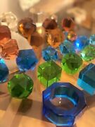28 Antique Czech Bohemia Paperweights Multi-colored Cube Faceted Colorful Glass