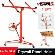 11ft Drywall Panel Lift Hoist Dry Wall Rolling Caster Lifter Construction 150lb.