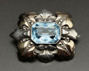 Victorian 1900s Aquamarine Brooch. Silver And 18k Yellow Gold. Spain Early 20th