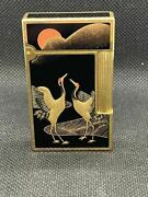 Pre Order Dupont Lighter Genuine Lacquer Makie Crane Double-sided Construction