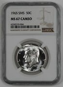 1965 Sms Kennedy Half Dollar 50c Ngc Certified Ms 67 Mint Unc - Cameo 004