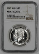 1965 Sms Kennedy Half Dollar 50c Ngc Certified Ms 67 Mint Unc - Cameo 005