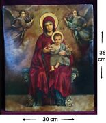 Icon Theotokos With The Baby Jesus Rare Russian Icon Wood Painting 36x30 Cm