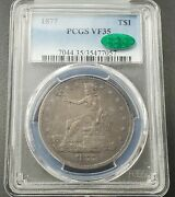 1877 P 1 Us Trade Seated Liberty Dollar Coin Pcgs Vf35 Cac Ch Vf Certified