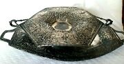 Antique Derby S.p. Co. Silver Plate Handled Bread Tray And Hexagon Pedestal Bowl