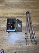 Vintage The A. Lietz Co. Surveying Transit Level W/wood Case And Wood Tripod