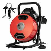Vivohome 50 Feet 1/2 Inch Electric Drain Auger With 4 Cutter And Foot Switch Sewer