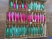 38 Vintage Green And Pink Glass Teardrop Oblong Christmas Ornaments Boxed