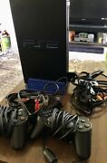 Sony Ps2 Playstation 2 Fat Console 2 Controllers 8 Games 1 Memory Cards Bundle