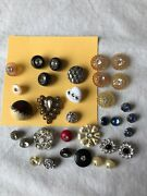 Lot Of 33 Vintage And Modern Rhinestone / Bling Buttons Various Sizes And Styles