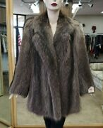 Clearance Natural Letout Raccoon Fur Jacket- Size 8