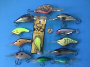 Lot 12 Poes Rapala Fishing Lures Deep Divers Shad Crankbait A- Norman Chrome Cha