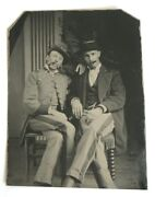 Antique Civil War Tintype 1860s Two Soldiers Smoking Cigarette Cigar