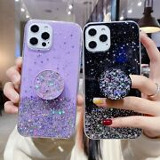 For Iphone 13 Pro Max 12 11 Pro 7 Plus 8 Xs Max Glitter Puller Holder Case Cover