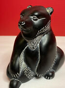 Carved Bear Boma A Made In Canada Inuit Black Signed Sitting Statue