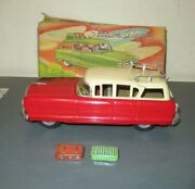 Vintage Friction Tin Toy Plymouth Station Wagon, San, Made In Japan 1950's