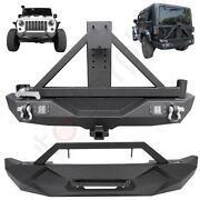 Offroad Front Rear Bumper W/ Spare Tire Carrier For 2007-2018 Jeep Wrangler Jk