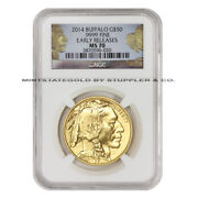2014 50 Buffalo American Gold Ngc Ms70 Er Early Releases 1 Ounce 24-kt Coin