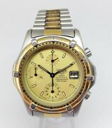 Rare Men's Heuer 2000 Automatic Chrono Diver Watch. 40mm Gold Dial. Date Wr 200m