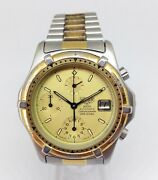 Rare Menand039s Heuer 2000 Automatic Chrono Diver Watch. 40mm Gold Dial. Date Wr 200m