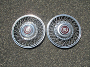 Genuine 1985 1986 Cadillac Deville Bang On 14 Inch Wire Spoke Hubcaps 1624052