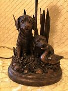Labrador Dogs Decoy Duck And Cattail Table Lamp Hunting Lab Retriever Rustic