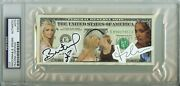 1/1 Britney Spears / Madonna Dollar Bill Auto Signed Psa Dna Slabbed Currency