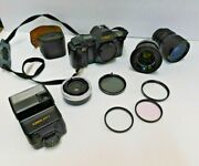 Canon T-70 35mm Slr Film Camera Black Body With Fd50 Mm 1.8 Tonkina At- 28-85