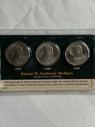 Susan B Anthony Us Silver Dollar 3 Coin Set 1979 1980 And 1999. Uncirculated.
